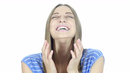 výraz : Amazed by Surprise, Excited Woman on White Background