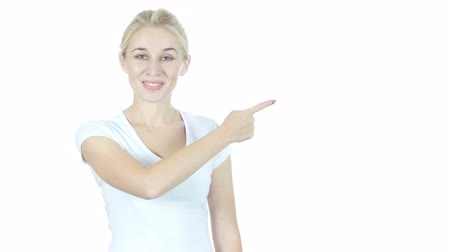 pont : Woman Pointing Showing Direction Aside, White Background