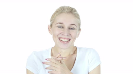 obličejový : Amazed by Surprise, Happy Woman on White Background Dostupné videozáznamy