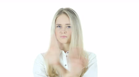 peeved : Stop, Rejecting Gesture, No By Woman,, White Background