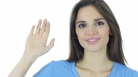 multirracial : Hi, Hello, Beautiful Brunette Woman Waving Hand, White Background Vídeos