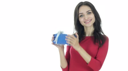 ajándékdobozban : Woman Excited after Getting Gift, Celebration, White Background