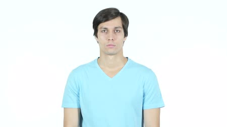 седые волосы : Portrait Of Young Casual Man, White Background