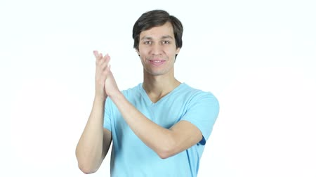 имитация : Man Clapping, Applauding, White Background