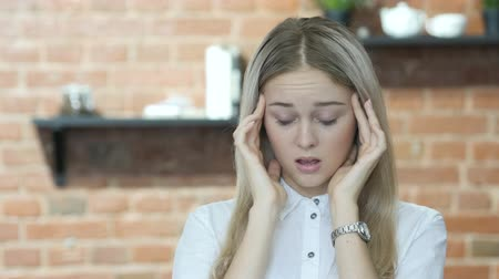 healthy office : Headache, Frustration, Tense Beautiful Brunette Woman Stock Footage