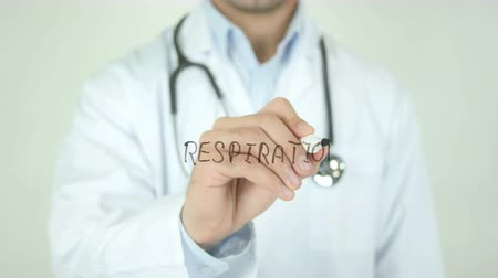 tongue : Respiration, Doctor Writing on Transparent Screen Stock Footage