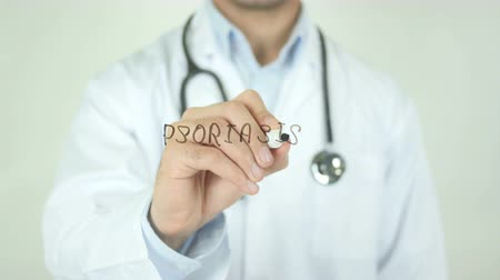 psoriasis : Psoriasis, Doctor Writing on Transparent Screen Stock Footage