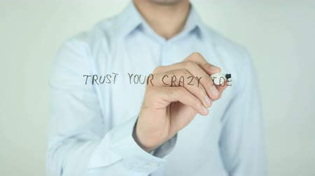 deli : Trust your Crazy Idea, Writing On Transparent Screen Stok Video