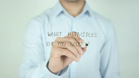 excelência : What Principles Do You Value?, Writing On Transparent Screen Stock Footage