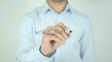 mapa : World Tree Day, Writing On Transparent Screen Wideo