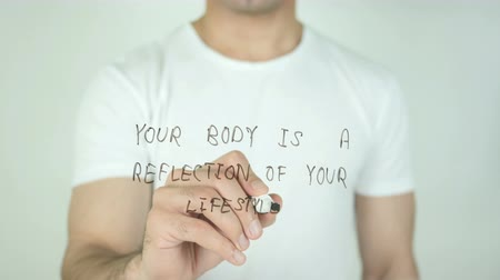 kulturystyka : Your Body is a Reflection of your Lifestyle, Writing On Transparent Screen Wideo