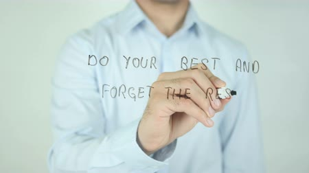 brickwall : Do your Best and Forget the Rest, Writing On Transparent Screen Stock Footage