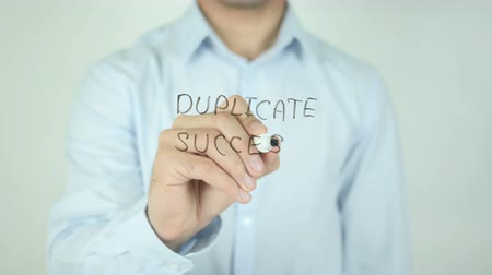 duplication : Duplicate Success, Writing On Transparent Screen Stock Footage