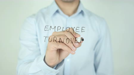 targeted : Employee Turnover, Writing On Transparent Screen Stock Footage