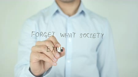 provérbio : Forget What Society Expects, Writing On Transparent Screen Stock Footage