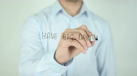 kaligrafia : Have Big Dreams, Writing On Transparent Screen Wideo