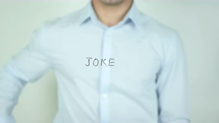 coringa : Joke, Writing On Transparent Screen Stock Footage