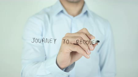 bereiken : Journey to Recovery, Schrijven Op Transparent Screen Stockvideo