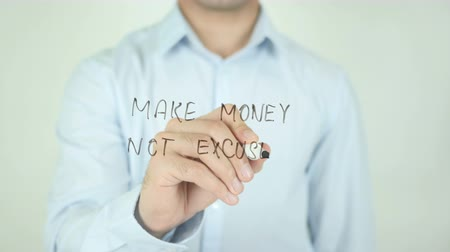 medaille : Make Money Niet Excuses, Schrijven Op Transparent Screen