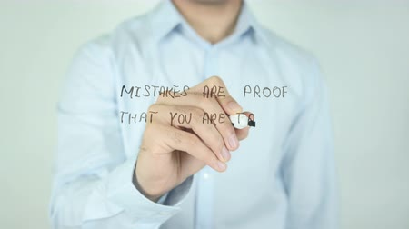 anlamı : Mistakes are Proof that You are Trying, Writing On Transparent Screen Stok Video
