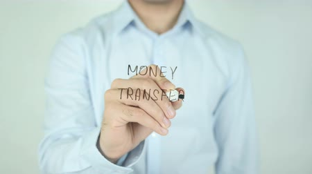 monitoren : Money Transfer, Schrijven Op Transparent Screen