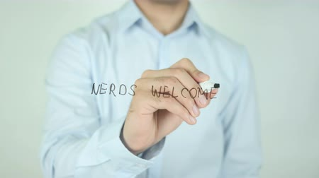 żart : Nerds Welcome, Writing On Transparent Screen