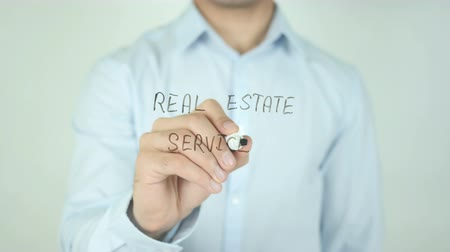 real : Real Estate Services, Writing On Transparent Screen Stock Footage