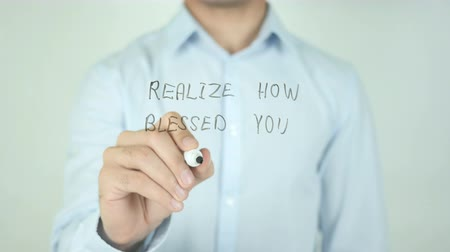 ação de graças : Realize How Blessed You Are, Writing On Transparent Screen