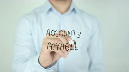 factuur : Accounts Payable, Schrijven Op Transparent Screen Stockvideo