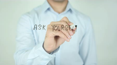 idiom : Ask Yourself, Writing On Transparent Screen