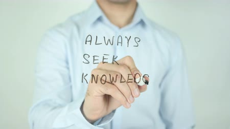 perguntando : ASK, Always Seek Knowledge, Writing On Transparent Screen Stock Footage