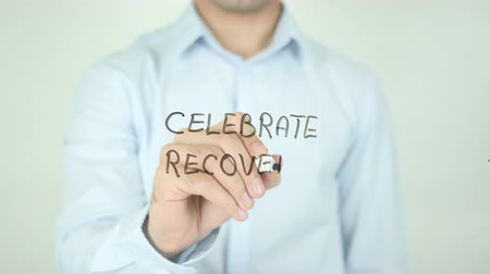 addiction recovery : Celebrate Recovery, Writing on Screen Stock Footage