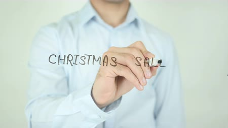 persuasion : Christmas Sale, Writing On Transparent Screen Stock Footage