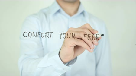 sikerül : Confront Your Fears, Writing On Transparent Screen Stock mozgókép