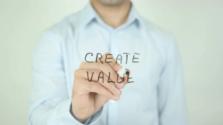 business values : Create Value, Writing On Transparent Screen