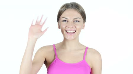 multirracial : Hi, Hello, Woman Waving Hand, White Background Vídeos