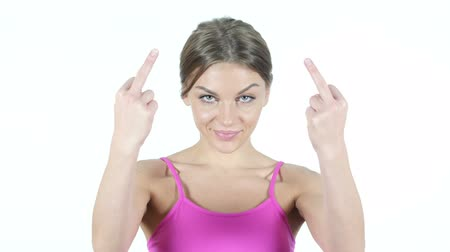 orta : Angry Woman shows Middle Finger, White Background
