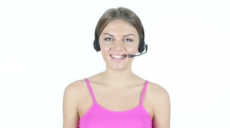 индикатор : Talking Call Center Girl, White Background