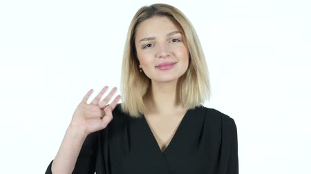 multirracial : Hi, Hello, Young Woman Waving Hand, White Background