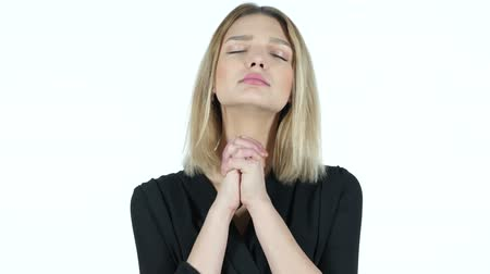 požehnat : Young Woman praying, Asking forgiveness, White Background