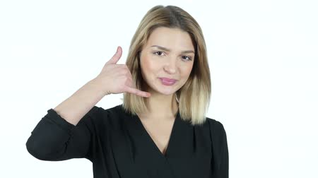 индикатор : Call me Gesture by Young Woman, White Background Стоковые видеозаписи