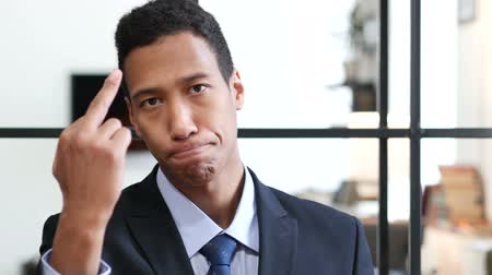 aggression : Showing Middle Finger, Black Businessman Stock Footage