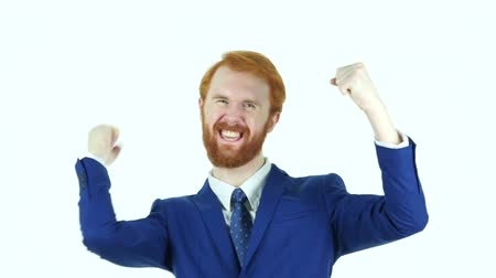 czerwone tło : Excited Red Hair Beard Businessman Celebrating Success Wideo