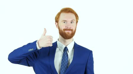 sikerül : Thumbs Up by Red Hair Beard Businessman, White Background