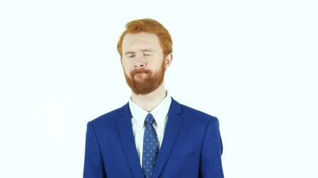 hüsran : Portrait of Upset Sad Red Hair Beard Businessman, White Background Stok Video