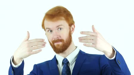 parceiro : Inviting Gesture by Red Hair Beard Businessman, Isolated Stock Footage