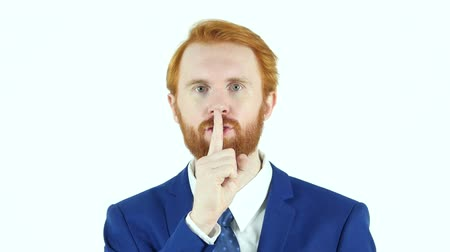 discutir : Gesture of Silence, Red Hair Beard Businessman, Finger on Lips