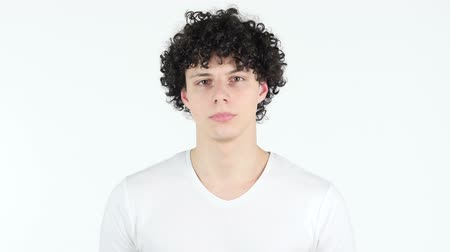 тайна : Portrait of Young Man with Curly Hairs Стоковые видеозаписи