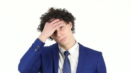 головная боль : Headache, Frustrated Young Businessman, White Background Стоковые видеозаписи