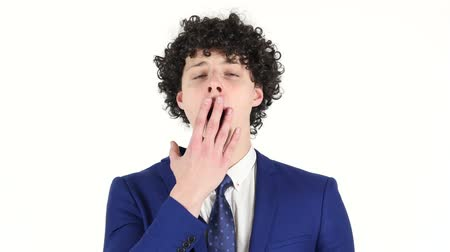 ludzik : Yawning Tired Young Businessman, White Background